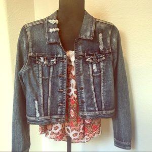 ChiQle Distressed Denim Jean Jacket size large